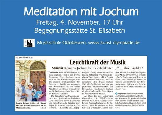 Meditation mit Jochum  Freitag, 4. November, 17 Uhr, Begegnungsstätte St. Elisabeth